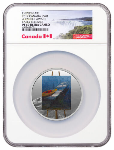 2017 Canada En Plein Air A Paddle Awaits 1 oz Silver $20 NGC PF69 UC ER SKU48647