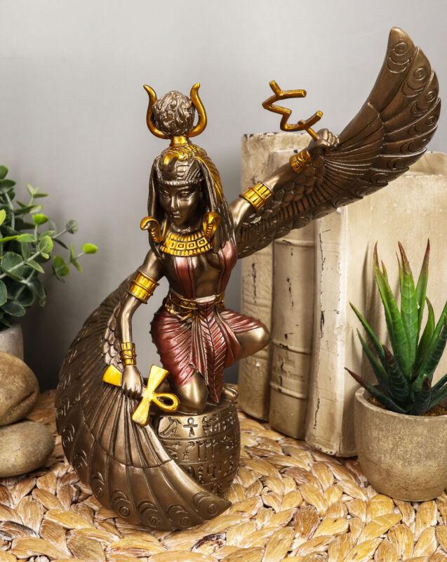"Egyptian Goddess Of Magic & Motherhood Isis Ra Holding Ankh Figurine 9""H Decor"