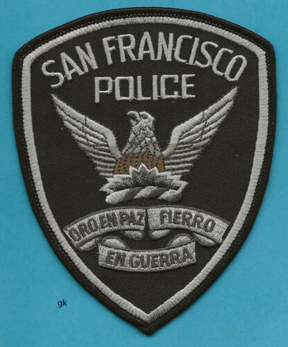 SAN FRANCISCO CALIFORNIA  POLICE  SHOULDER PATCH  (Subdued-black)