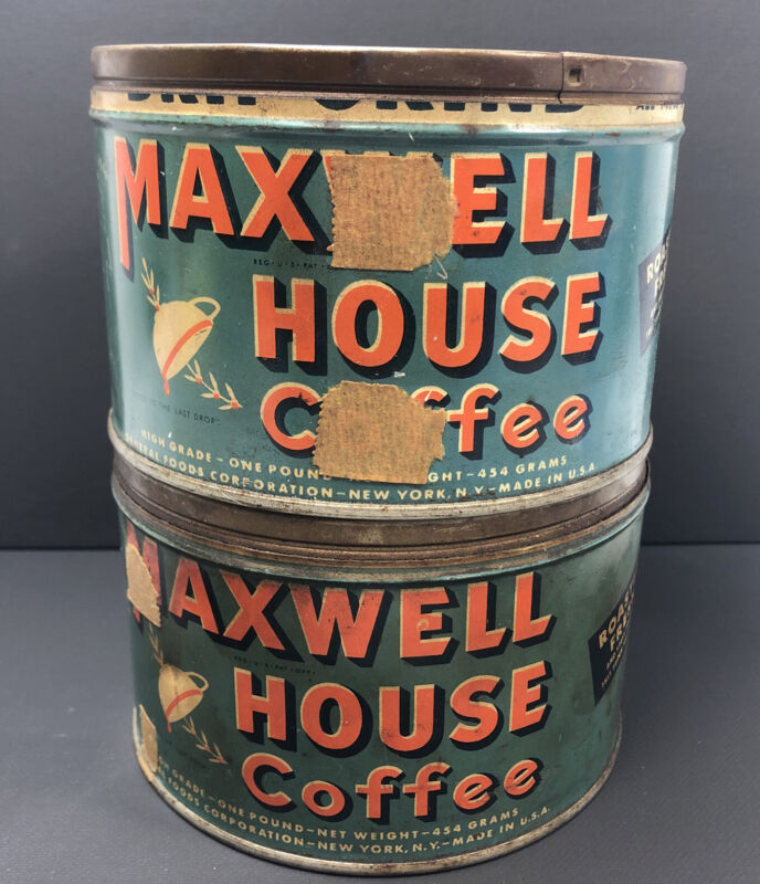 (2) Vintage Maxwell House 1 Lb Coffee Tin Can **No Lids**