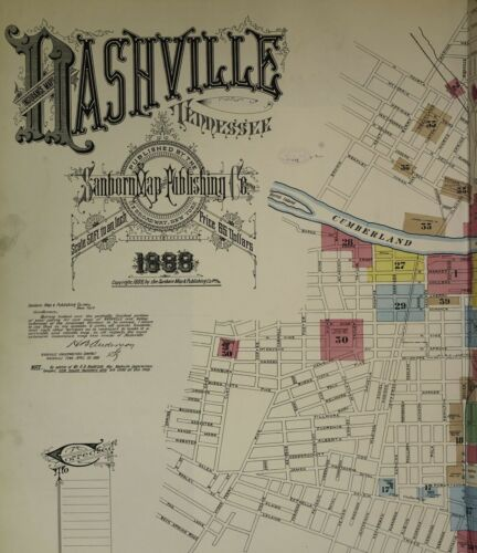 Nashville, Tennessee~Sanborn Map© sheets made in 1888 with  83  map images~COLOR