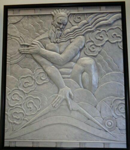 "08:46 G.F. 20"" x 24"" Zeus with Iconic Lightening Bolt - Art Deco Canvas Print"