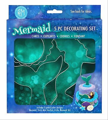 5 x Mermaid Shaped Themed Cookie Biscuit Cutter Set Girls Gift Cake Decorating Shaped Cookie Cutter