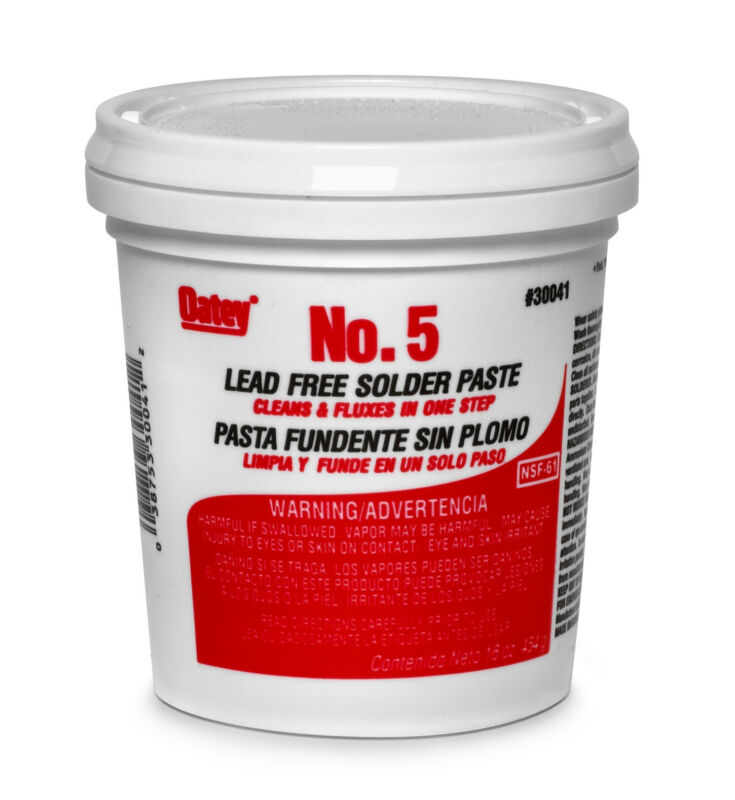 Oatey 30041 No. 5 Lead-Free Paste Flux, 16 Oz, Amber