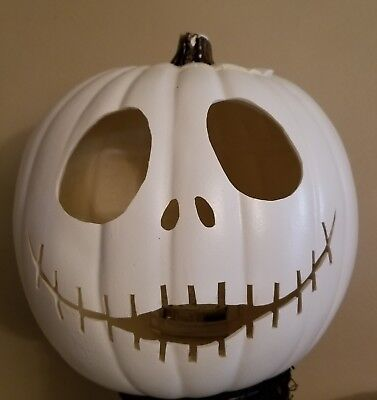 Hand Carved Jack Skellington NBC 9in Foam Pumpkin Jack-o-lantern Halloween w/led