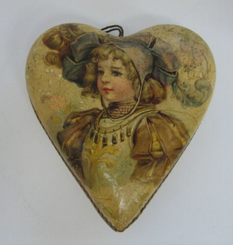 Antique heart Candy paper litho container Girl floral graphic