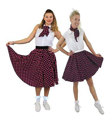 SCHWARZER ROCK ROSA 1950ER ROCK n ROLL KOSTÜM VERKLEIDUNG POLKA DOT TANZ  TWIST - Twist Tanz Kostüm