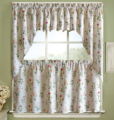 English Garden Floral White Jacquard Kitchen Curtains Tier, Valance or -