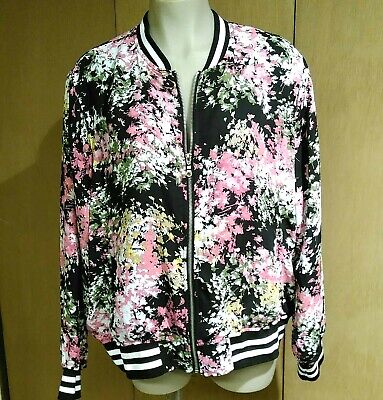 AGB Woman Size 2X Silky Baseball Style Jacket Topper Jacket Floral Zip Front
