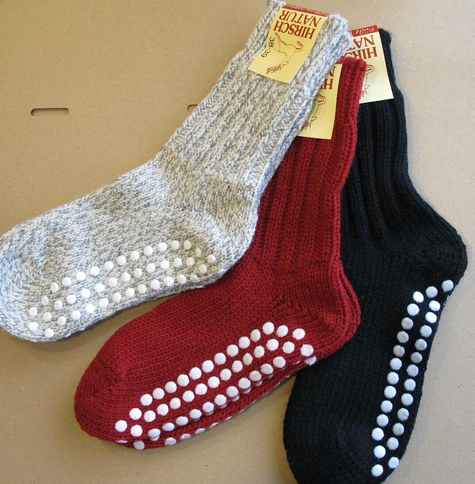 HIRSCH Stoppersocken Schurwolle Damen Herren Anti-Rutsch Socken Wollsocken ABS