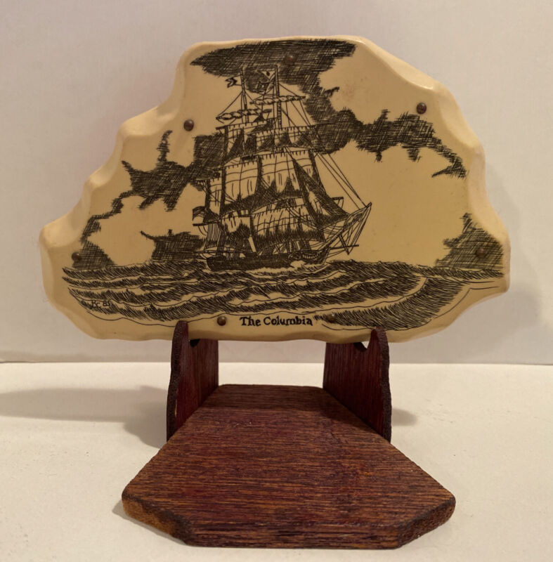 "Antique Style Folk Art Sail Ship Scrimshaw ""The Columbia"" Plaque & Wooden Stand"