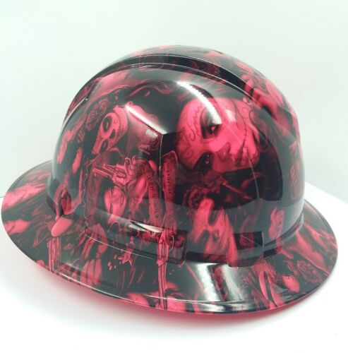 FULL BRIM Hard Hat custom hydro dipped , NEW HOT PINK TATTOO BABES BANDITO NEW 2