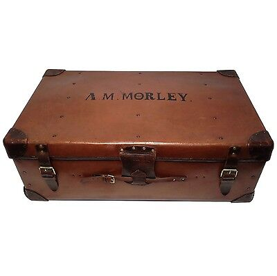 Vintage Leather Trunk Suitcase Coffee Table Antique Made in England