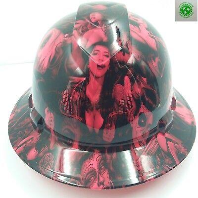 Full Brim Hard Hat Custom Hydro Dipped New Hot Pink Tattoo Babes Bandito New