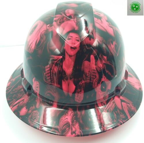 FULL BRIM Hard Hat custom hydro dipped , NEW HOT PINK TATTOO BABES BANDITO NEW