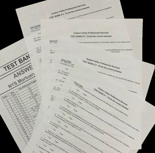 New York State Funeral Service Law Exam Test Banks