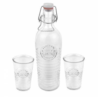 3tlg Set Officina 1825 Glasflasche 1,2L Flasche leer Trinkglas 325ml Trinkgläser Flasche Gläser
