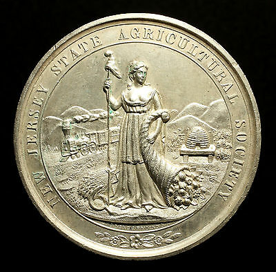 USA, Große Prämien Silbermedaille o.J. (nach 1840), New Jersey Agricultural, RR!