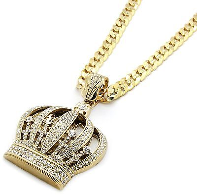 Mens Gold Iced Out Queen Crown Pendant Hip-Hop 30
