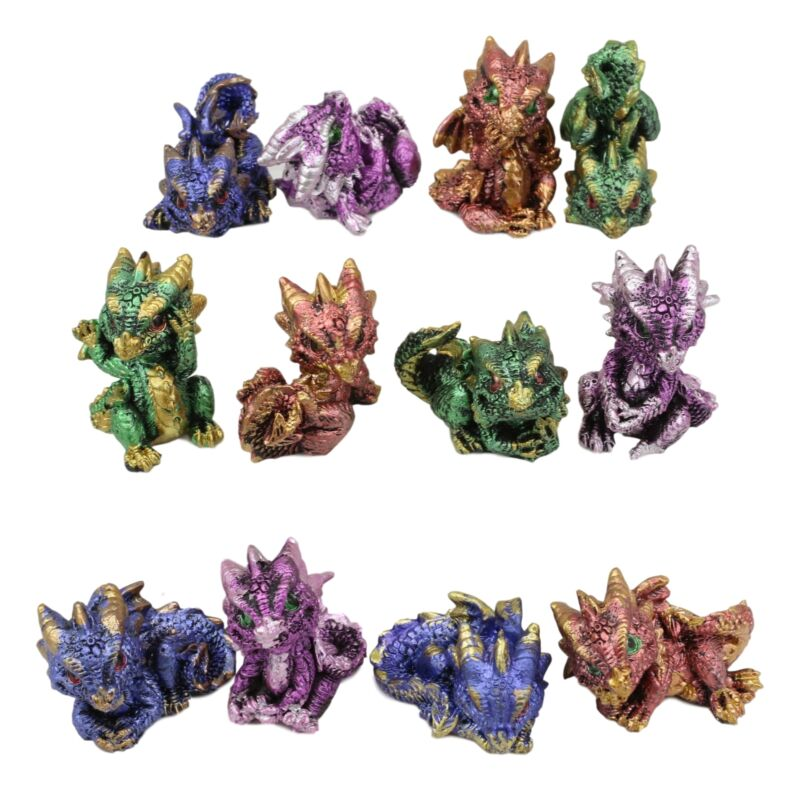 Set Of 12 Colorful Metallic Baby Dragons In Multiple Poses Miniature Figurines
