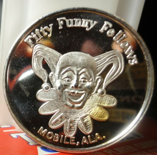 Mobile,Al.  FIFTY FUNNY FELLOWS 1978~.999 Silver Mardi Gras Doubloon