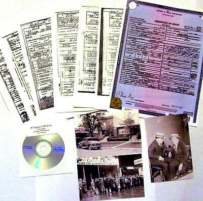 Al Capone 38 DEATH CERTIFICATE Lot,Friends, Foes Lawyers + FBI FILES + 3 PHOTOS