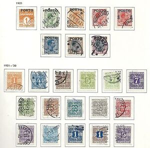 Denmark-stamps-1921-YV-Due-1-18-22-26-CANC-VF-HIGH-VALUE