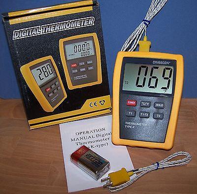 Scientific Digital Thermometer 2 K-type Thermocouple Temperature Sensor Probe 02
