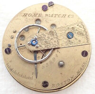 ANTIQUE 18S WALTHAM HOME WATCH CO 11J KEY WIND POCKET WATCH MOVEMENT PARTS