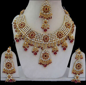 Designer Indian Bollywood Bridal Wedding Jewelry Kundan Necklace Set  USA Seller