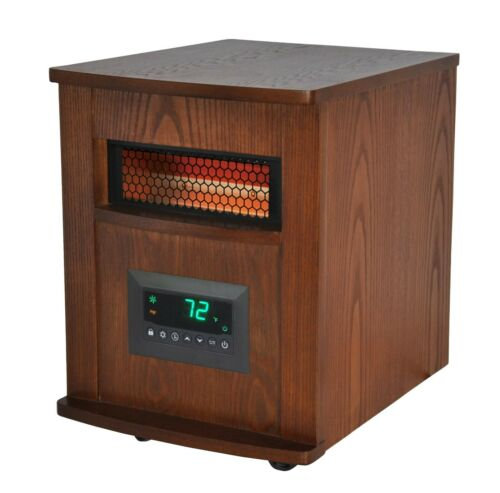 Warm-Living 1,500-W 6 Element Infrared Wood Cabinet Heater with Remote, WL6W18