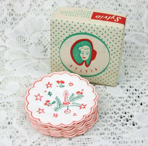 Vintage Christmas Paper Beverage Coasters Drip Mats Set by Slyvia w Box Holiday