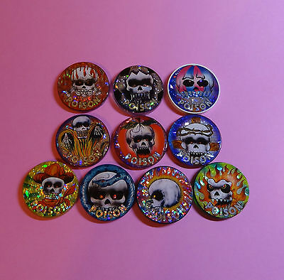 Pogs   10 Poison Slammers   Variety Skulls   Plastic   Miscellaneous   Beautiful