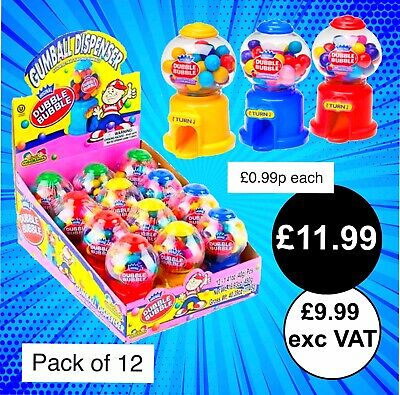 Kidsmania Dubble Bubble Mini Gumball Machine 40g - Pack of 12 - Candy Dispenser