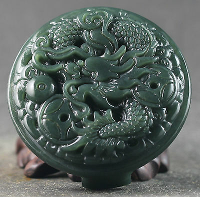 Chinese natural hetian jade hand-carved dragon design belt pendant  2.1 inch
