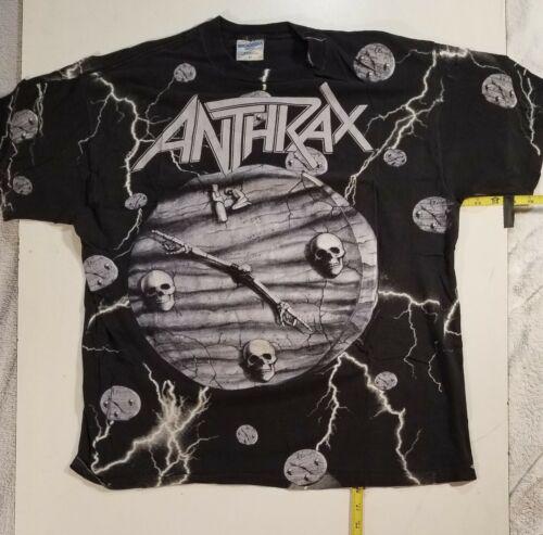 Anthrax POT  All-over-print  Vtg  tour shirt  NOT a reprint. SLAYER Iron Maiden