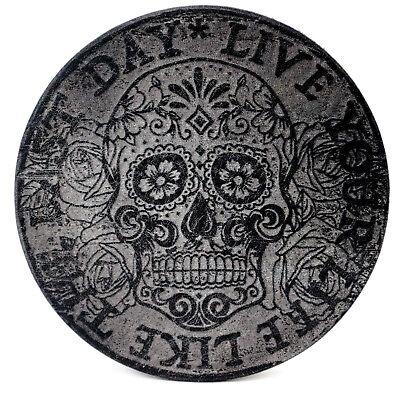 Leder Untersetzer (100% Echt Vintage Leder Untersetzer Live your Life Sugar Skull 2er 11cm)