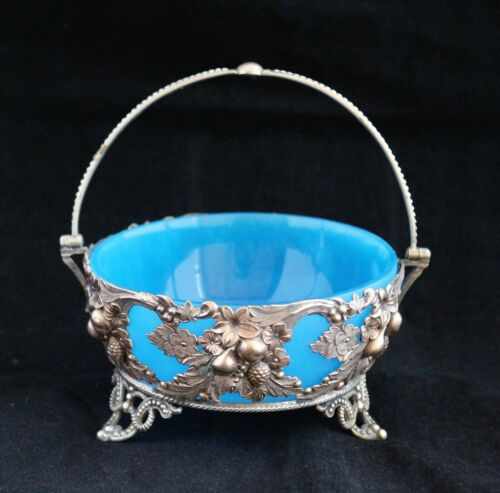 Antique French Blue Opaline Glass Metal mounted OPEN CANDY NUTS BOWL DISH