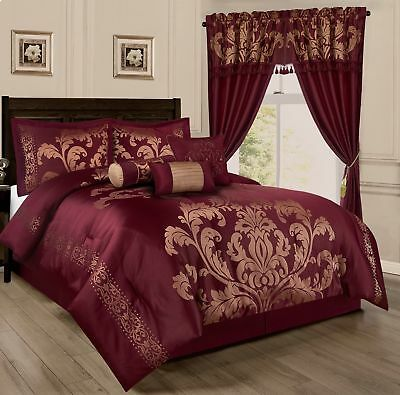Chezmoi Collection 7pc Jacquard Floral Comforter or Curtain Set, Maroon/Gold