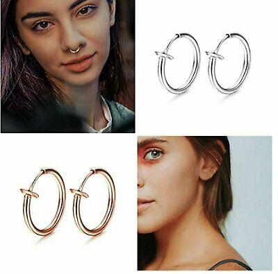 1-Pair Men Women Stainless Steel Clip On Non-Piercing Fake Spring Hoop Earrings Earrings