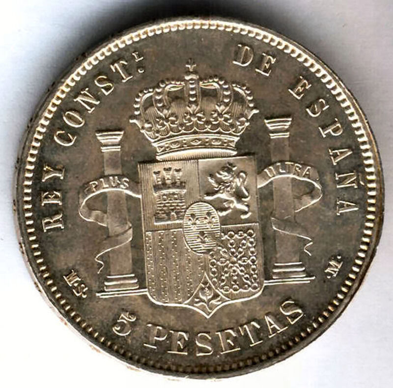 Alfonso Xii 5 Pesetas 1885 85 Msm @ Without Circular @ Unicirculated @
