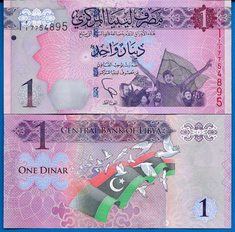 Libya P-76 1 Dinar Year 2013 FREE LIBYA 1ST ISSUE Uncirculated Banknote