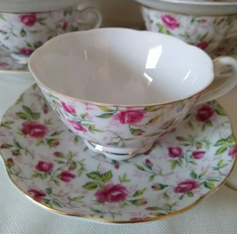 Set of 6 Vintage Cups & Saucers Lefton China Hand Painted Rose Chintz.
