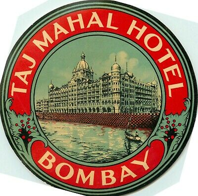 Taj Mahal Hotel ~BOMBAY INDIA~ Beautiful and Vibrant Old Luggage Label, c. 1935