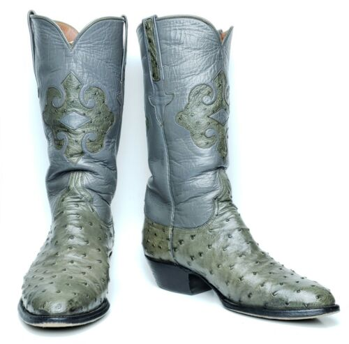 Lucchese, Mens, 7.5, E, Gray, Full, Quill, Ostrich, Cowboy, Western, Boots, w/, Classic, Box