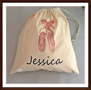 PERSONALISED BALLET SHOES BALLERINA PE PUMP GYM SCHOOL DRAWSTRING COTTON BAG