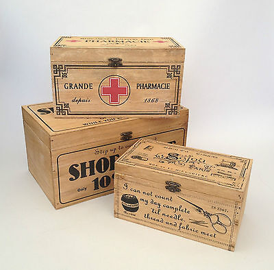 VINTAGE WOODEN STORAGE BOX SHOE SHINE CLEANING FIRST AID SEWING FRENCH SHABBY