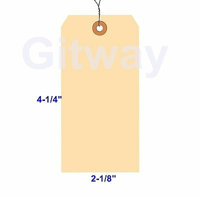 1000- 4 14 X 2 18 Size 4 Manila Inventory Shipping Hang Tags With Wire 13 Pt