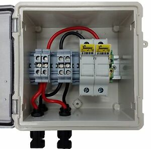pv solar 2 string dc combiner box with 2 fuses pre wired ebay