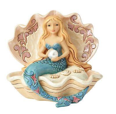 Enesco Jim Shore Heartwood Creek Mermaid Sitting in Clam Shell NIB # 6001527